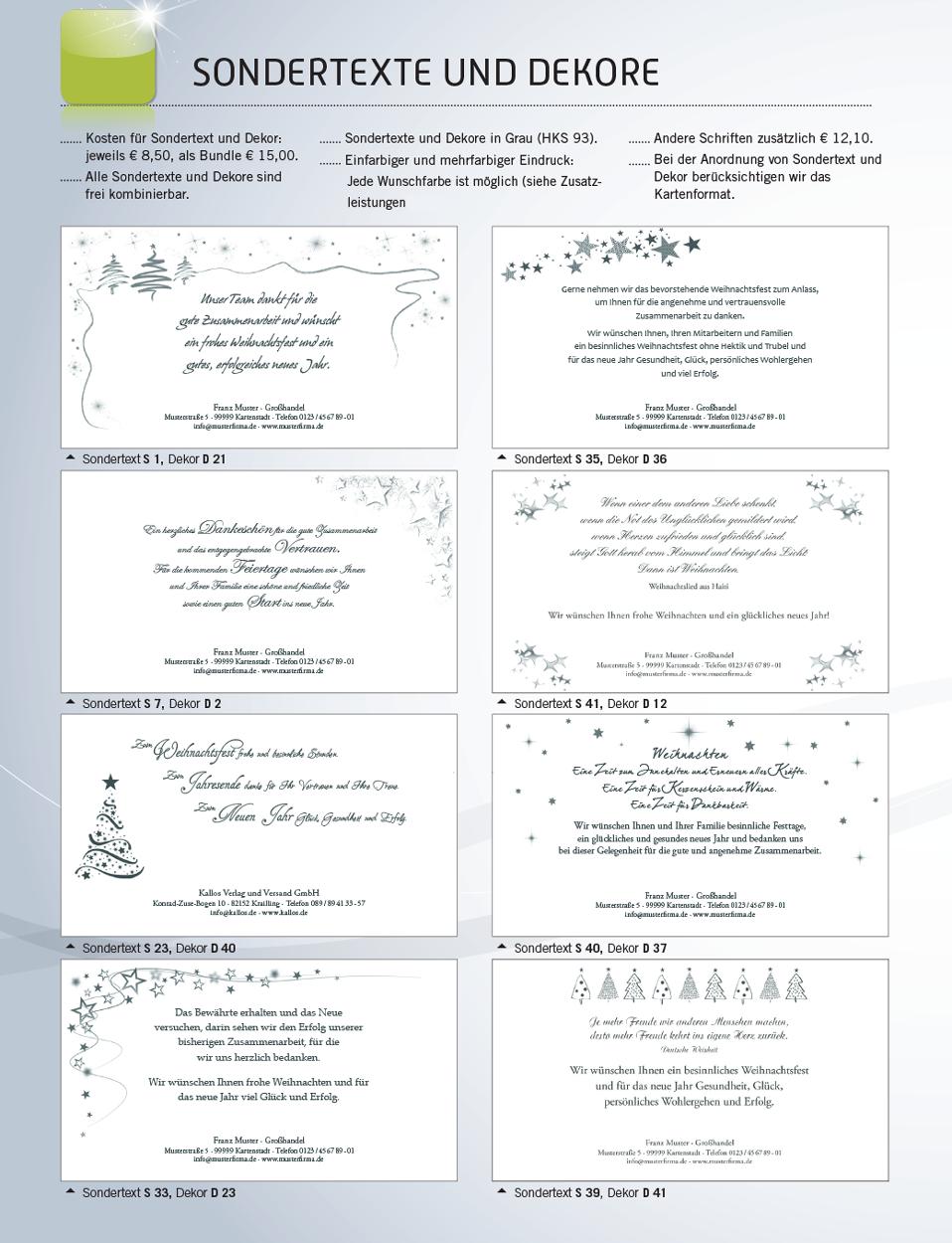 Weihnachtskarten und Grußkarten vom Kallos Verlag