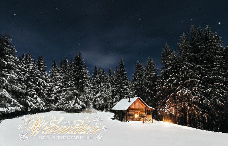 heimelige h tte au ergew hnliche weihnachtskarten f r firmen. Black Bedroom Furniture Sets. Home Design Ideas