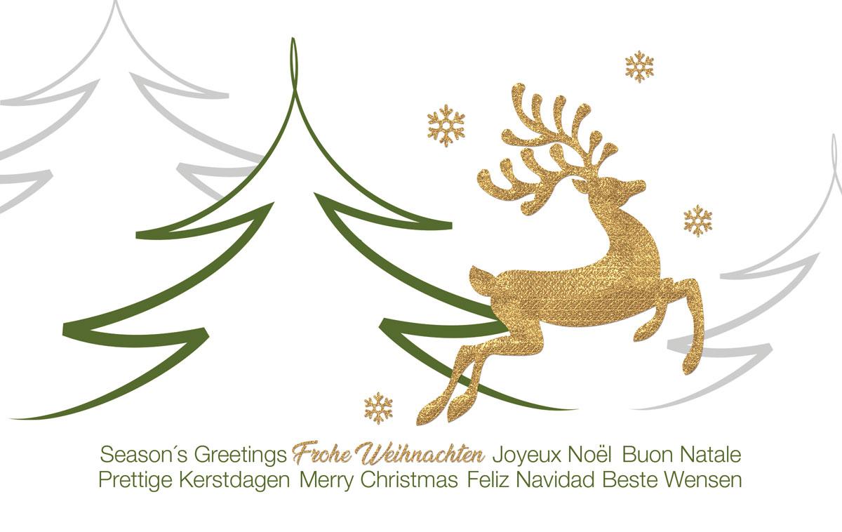vergoldeter hirsch au ergew hnliche weihnachtskarten f r. Black Bedroom Furniture Sets. Home Design Ideas