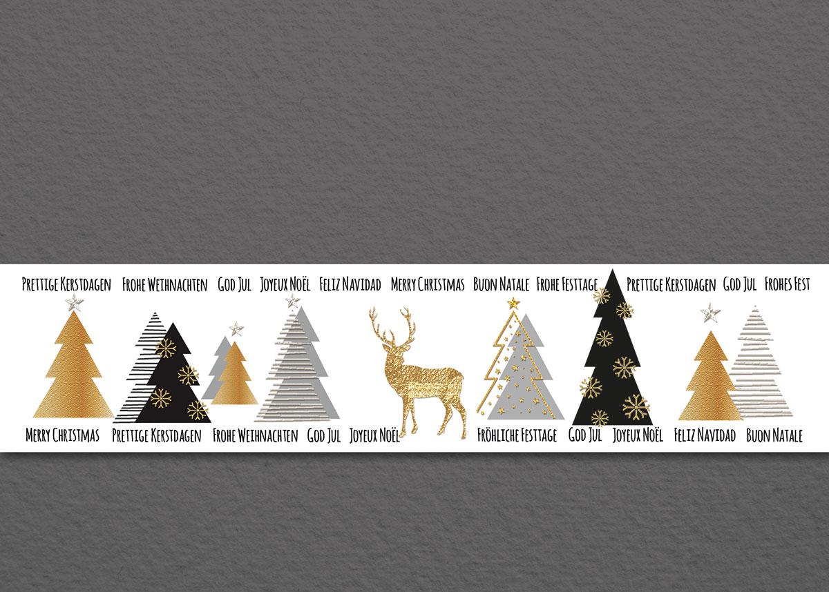 waldweihnacht auf grau au ergew hnliche weihnachtskarten. Black Bedroom Furniture Sets. Home Design Ideas