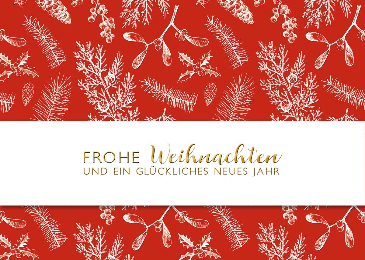 band mit gold auf rot au ergew hnliche weihnachtskarten. Black Bedroom Furniture Sets. Home Design Ideas