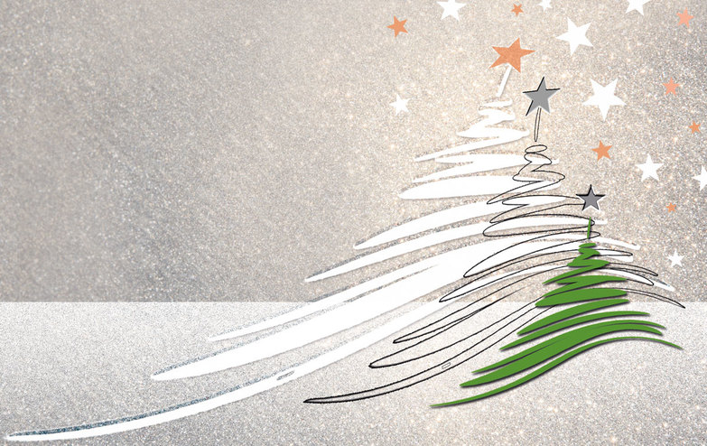 Weihnachtskarte: Silver and green