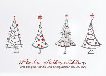 Weihnachtskarte mit vier Tannenbäumen