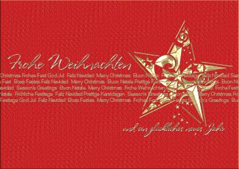 Weihnachtskarte mit einem Stern und Weihnachtswünsche